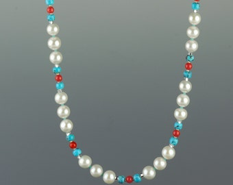 Pearl Necklace w Nacorazi Turquoise & Sardinian Coral, White Pearl Multi Gem Necklace, 925 Sterling Silver, Unusual Pearls, Quality Pearls