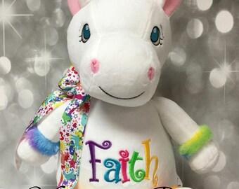 Rainbow Personalized White Unicorn Stuffed Animal w/rainbow trim