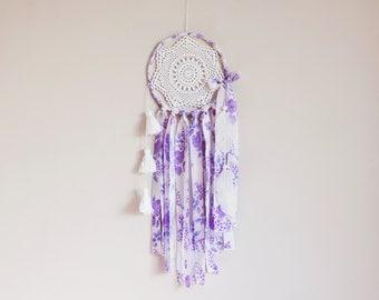 Dream catcher, purple, white, large, handmade, crochet mandala, wall hanging, crochet, doily, dreamcatcher, bedroom decor, tassel, bohemian