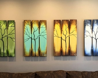 "Reclaimed Wood Wall Art Seasons of Change Abstract Tree Paintings on Upcycled Wood 72"" Extra Large 4 Pcs"