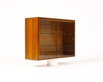 Danish Modern / Mid Century Teak Wall Mounted Display Cabinet — Glass sliding doors