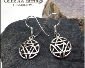 Celtic Alcoholics Anonymous Earrings, Sterling Silver Discrete Sobriety Earrings, Recovery Jewelry - SE-2420-FEW