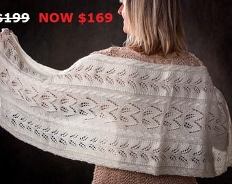 """MOTHER'S DAY SALE: Lace Scarf/Shawl for Women/Ladies """"Quadra Island"""", handknit in pure fine undyed merino yarn"""