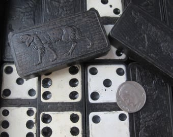 "The ""Embossing Company"" Whiteface Dominoes Made in the USA, Dog Pointer, Hunting Hound Black Vintage Game Dominoes. Early 20th Century Games"