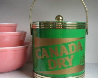 Vintge Canada Dry Ice Bucket, Kelly Green/Gold, Vintage Advertising, Ice Chest