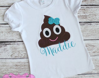 Poop Emoji Girls Shirt, Emoji Shirt, Emoji Birthday Shirt, Emoji Party,  Girl Emoji Shirt, Poop Emoji Shirt, Emoji Applique Shirt