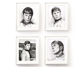 Spock Art Print Set Star Trek Wall Decor Spock Portrait Spock Watercolor Art Poster Leonard Nimoy Portrait Spock Fan Art - Set of 4 Prints