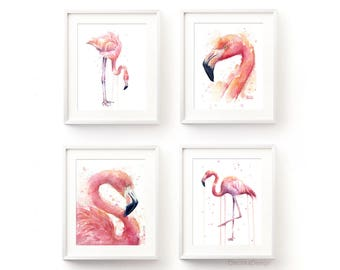 Pink Flamingo Watercolor Wall Art Flamingo Home Decor Pink Flamingo Painting Flamingo Illustration Birds Giclee Art Prints Set of 4 Prints