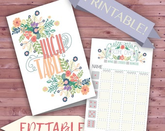 Mother's Day Bunco Set, Printable Bunco Game Cards, Garden Party Bunco, Tea Party Bunco Set, Cute Flower Print Bunco Table Tally Score Cards