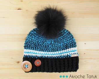 Rustik hat. Black, turquoise and cream woman crochet winter hat with buttons and fur pompom by Akroche Tatuk (made to order)
