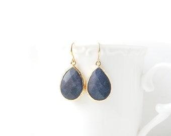 Matte Gold Plated Framed Drop Navy Blue Jade Earrings