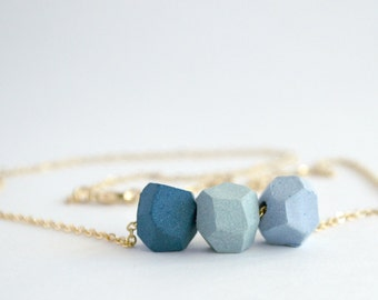 Faceted Porcelain Necklace (3 beads)