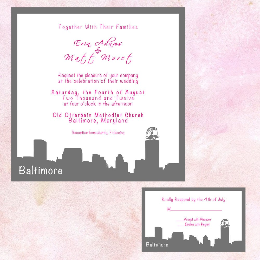 Wedding Invitations In Maryland: Baltimore Skyline Wedding Invitation Bundle Maryland