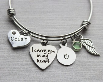 Cousin - I Carry You In My Heart Bracelet, Cousin Memorial, Cousin Sympathy, Cousin Loss, Cousin Loss Jewelry, Memorial Jewelry, Sympathy