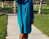 Trapeze Dress In Teal, Cotton Knit Long Sleeve Knit Banded Dress, Loose Fitting Shift Dress, Drape Collar Midi Dress ~ All Sizes / Colors