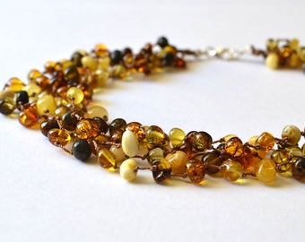 Organic Amber Necklace Multicolor Linen Necklace Modern Multistrand Necklace Sun Summer Fashion