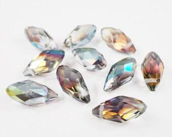 Vitrail Crystal Beads 12x8mm (8x12mm) Briolette Crystal Beads, Multi Color Chinese Crystal Drop Beads, Faceted Glass Teardrop Beads, 10pcs