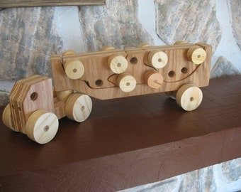 The Big Rig, Car Hauler Toy Truck with Three Interlocking Cars, Made from Laminated Oak Plywood with Pine Wheels
