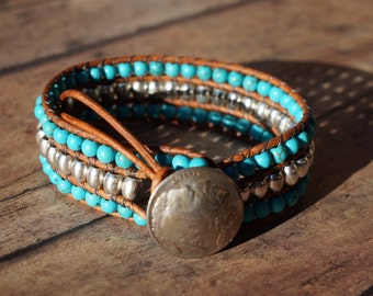 Turquoise and Leather Cuff Bracelet, Tibetan Silver, Buffalo Nickel Button