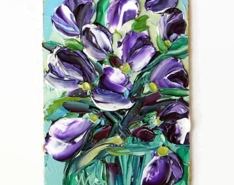 Purple Tulip Art Original ACEO Oil Painting Flower Abstract Tiny Painting Palette Knife Textured Impasto Gift for Her