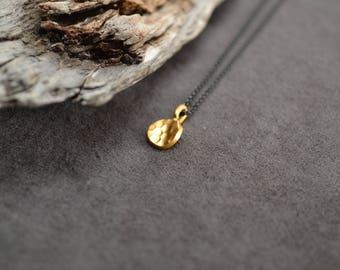 Gold Pendant, Gold Vermeil Pendant, Textured Pendant, Oxidized Chain Necklace, Mixed Metal Necklace, Two Tone Necklace, Geometric Necklace