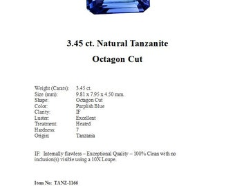 Just Arrived - TANZANITE - Lovely 3.45 Carats of Light Purplish Blue Tanzanite in an Elegant Octagon Cut..