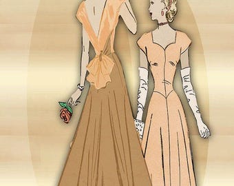 1940s Sewing Pattern Evening Gown Sweetheart Neckline Low Back Interest Cap Sleeves * Mother of Bride Dress Bust 34 Advance 4079