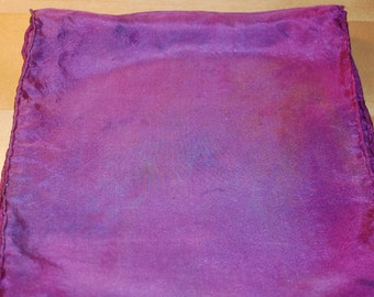 Hot Pink Silk Dyed Scarf with Blue Accents
