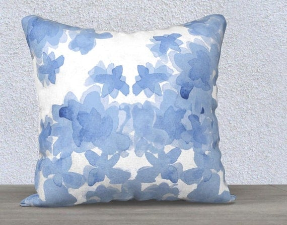 """Blue Floral Pillow Cover in Velveteen, 14""""x20"""", 18""""x 18"""""""