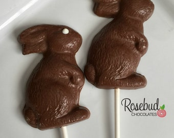 12 Chocolate Solid Bunny Rabbit Lollipop Favors Easter Candy