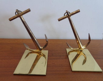 Pair of Vintage Mid Century Ships Anchor Book Ends in Solid Brass