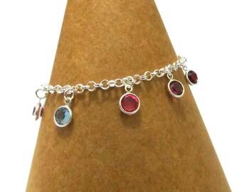Birthstone Charm Bracelet, Family Bracelet, Mothers Bracelet, Childrens Birthstones, Grandchildrens Birthstones, Swarovski Crystals