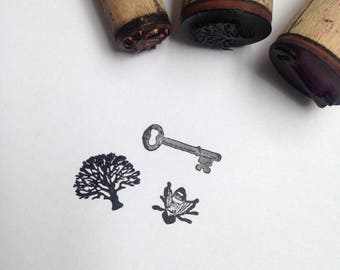 3 x Destash Wooden Rubber Stamp Tree Key Bee diary scrapbook stamp