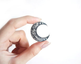 Know Thy Self Glitter Crescent Moon Pin   Moon Goddess Market Original   Pins for your stuff   Lapel Pin