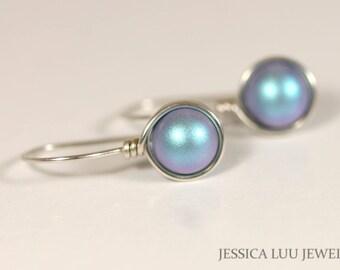Blue Pearl Earrings Wire Wrapped Jewelry Sterling Silver Earrings Iridescent Blue Earrings Bridal Pearl Earrings Necklace and Earrings Set