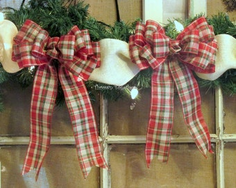 Christmas Bows, 2 Red Green Gold Plaid Bows, Christmas Plaid, Plaid Bows, Christmas Tree Bows, Christmas Wreath Bows, Christmas Decor Bows