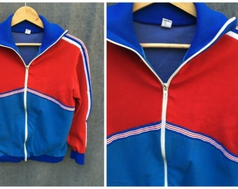 70's Pilipp Athletic Zip-Up Red, White and Blue with Racer Stripes Poly Sweatshirt - Men's Size Medium