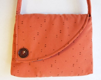 Fabric Purse handmade Orange Shoulder Bag made from recycled materials by Cant Have Enough