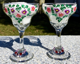 Margarita Glasses Hand Painted Red Purple Flowers, Set of 2-12 oz. Summer Glasses, Bestie Gift, Birthday Gift, Mexican Wedding Gift