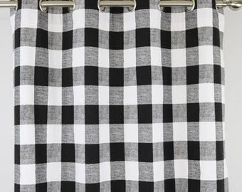 Black and White Buffalo Check Curtains - Grommet - 84 96 108 or 120 Long by 24 or 50 Wide Optional Blackout Cotton Lining