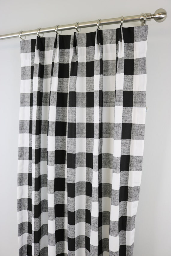 Black White Anderson Buffalo Check Curtains Pinch Pleat 84