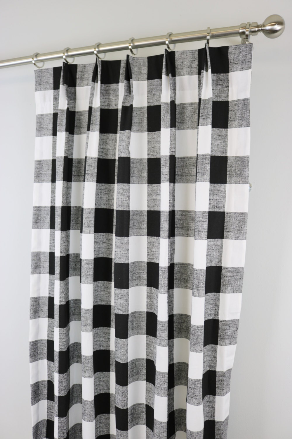 Black White Anderson Buffalo Check Curtains Pinch By Zeldabelle