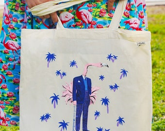 Flamingo Tote Bag | Organic Cotton Canvas Tote | Florida Grocery Bag | Screen Printed Illustration | Retro Tote Bag | Hot Pink Blue