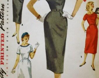 1950s Sheath Dress Pattern / Simplicity 1410 Vintage Sewing Pattern / Detachable Trim / Size 12