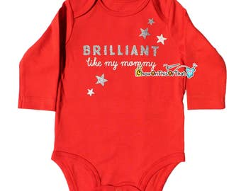 Just Like Mommy Red Long Sleeve Baby Girl Onesie, Newborn Bodysuits, Top, Mothers Day, New Mom Shower Gift
