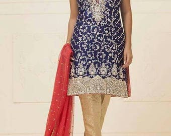 Zainab Chottani Royal blue and red chiffon dress, Indian/pakistani formal shalwar kameez, wedding dress, bridal outfits, zainab c