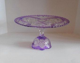 Purple Cake stand / Purple cake Pedestal / Purple Dessert Stand / Purple wedding / Vintage Glass