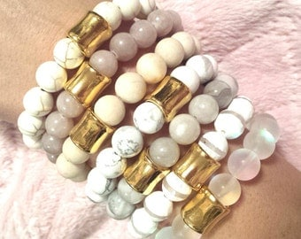 PICK 1- WOMENS 10mm Neutral Gemstone Gold Column Accent Bead Stack Boho Chic Stretch BRACELET Jewelry Fashion Bling Trend Style Fall