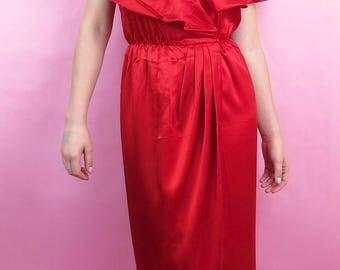 VTG 80s Red Satin Flounce Shoulder Wrap Maxi Dress, Gown, S