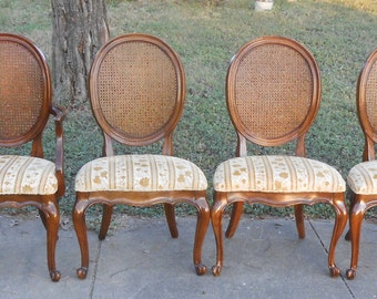 Vintage Set of 6 Dining Room Chairs French Style Queen Anne Legs Wicker  Ratan Cane BackQueen anne legs   Etsy. Antique Queen Anne Upholstered Chairs. Home Design Ideas